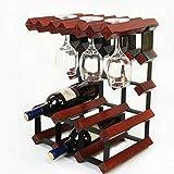 wein - rack metall & holz wein arbeitsplatte stehenlassen rack weinlager regal mit 6 flasche käfige und 6 - inhaber(Red)