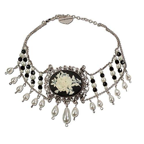 Alpenflüstern Trachten-Collier Rosalie Trachtenkette aus Perlen - Damen-Trachtenschmuck Dirndlkette schwarz DHK125