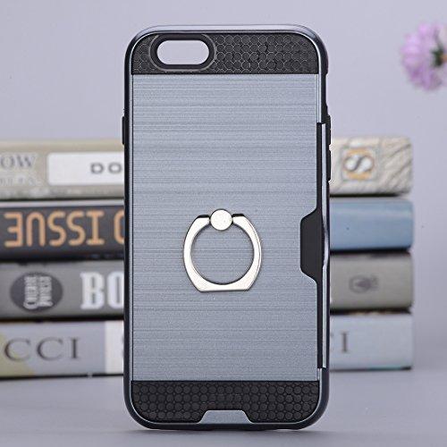 Wkae Texture Metall Schutzmaßnahmen zurück Fall mit Ring Halter Stand & Card Slot für iPhone 7 ( SKU : Ip7g5016dg ) Ip7g5016l