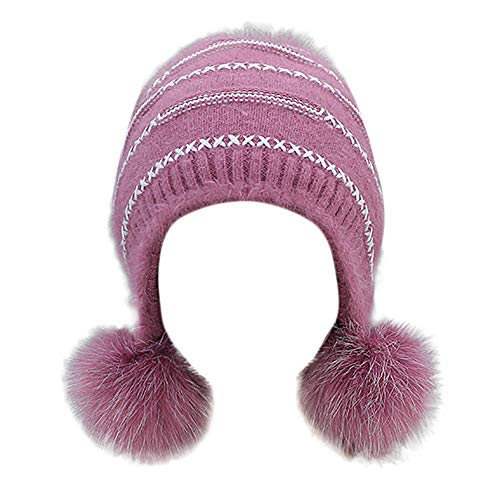 JMETRIC Damen Beanie l Hat Strickmütze l WintermützelOhrenschützer StrickmützelWarme Mütze lHairball