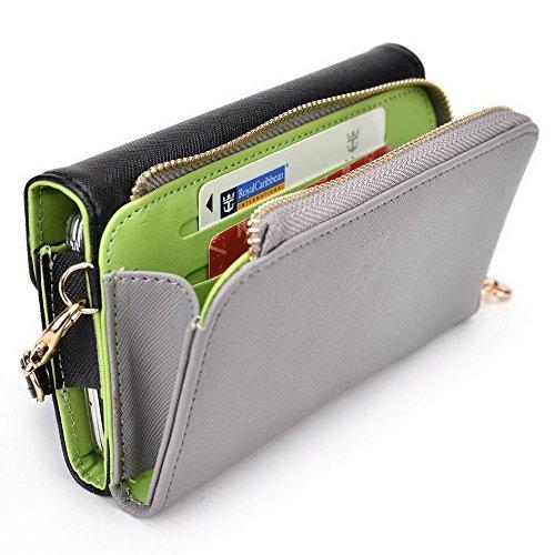 Kroo d'embrayage portefeuille avec dragonne et sangle bandoulière pour Motorola Moto X Play Magenta and Yellow Noir/gris