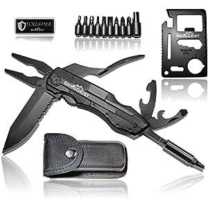 BERGGEIST® Multi-Tool Survival Taschenmesser Set aus Edelstahl | Klappmesser & Zange | Inklusive EDC Kreditkartenmesser…