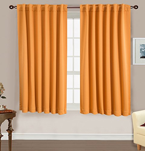 Fenster Rose Verdunklungsvorhänge Rod Pocket Drapes für Schlafzimmer/Wohnzimmer - 2 Panel-Set, Polyester, Orange, W52xL63 (Rod Pocket Panel)