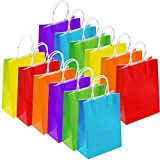 Keriber 12 Pieces Paper Bags Kraft Bag Party Gift Bag with Handle for Wedding, Birthday and Party Celebrations, Multicolour