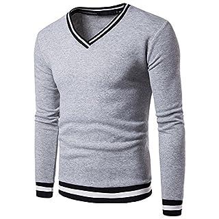 Vertvie Herren Largarmshirt Basic Mode V Ausschnitt Gestreift Hemd Slim Fit  T-Shirt Sweatshirt Oberteile