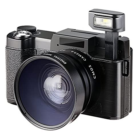 Appareil Photo Numérique 1080p, Besteker Caméscope Full HD 24,0MP Caméra Vidéo LCD 3.0 Pouces avec Objectif Macro et Lumière Flash
