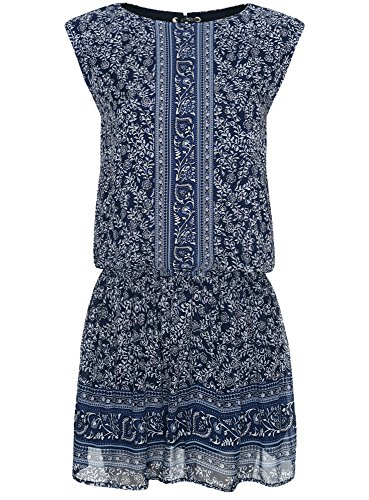 oodji Ultra Femme Robe Mousseline Imprimée Bleu (7512F)