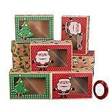 Hemoton - Scatole per biscotti natalizie a forma di ciambella, con finestrella trasparente, motivi festivi verdi e rossi, con nastri natalizi, confezione da 12