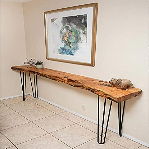 Hahaemall Industrial Look Modern Mid Century New Style 3 Rod 41cm-86cm Hairpin Metal Wooden Table Steel Legs Set of 4 Pcs Without The Wooden Board (28 inch / 71cm