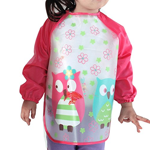 la-haute-children-kids-waterproof-long-sleeved-smock-apron-bib-for-eating-and-painting-red-owl