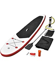 vidaXL Tabla de Surf Remo rojo y blanco con SUP regulable