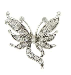 Glamour Girlz Ladies Vintage Dark Silver Tone 4cm Diamante Stencil Butterfly Brooch Short Tail