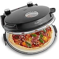 Horno para pizzas Peppo Máquina para preparar pizzas como al horno de piedra a 350°C con temporizador e indicador luminoso, incluye 2 volteadores grandes de pizza