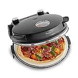 Four à Pizza électrique Peppo, 1200W, pour des pizzas comme au four en pierre à 350°C, avec minuterie et voyant y deux grandes pelles à pizza - noir