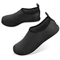 JOTO Water Shoes for Women Men Kids, Barefoot Quick-Dry Aqua Water Socks Slip-on Swim Beach Shoes for Snorkeling Surfing Kayaking Beach Walking Yoga -Black Twill