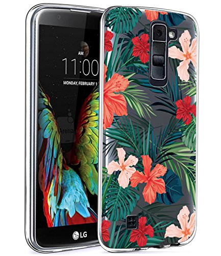 LG K10Fall, LG Premier LTE l62vl l61al Fall mit Blumen, baisrke Slim stoßfest Transparent Floral Muster Weiche Biegsame TPU Back Cove für LG K10ms428K428sg [Purple Pink], Palm Tree Leaves -