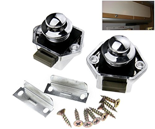 2 x Chrome Push Button Catch Door Lock 17-25mm For Boat