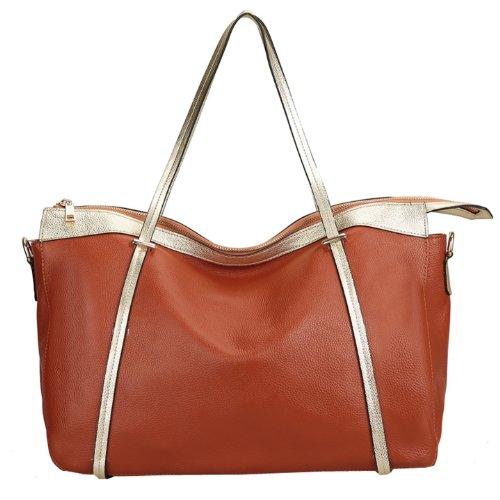 Dissa Q0405 Damen Leder Handtaschen Top Handle Satchel Tote Taschen Schultertaschen Braun