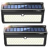 Lampe Solaire Detecteur de Mouvement,100 LED Extra Lumineuses Lumieres Solaires Exterieur avec Grand Angle et Etanche Sans Fil Applique Exterieur Solaire(2 PACK)-LUSCREAL