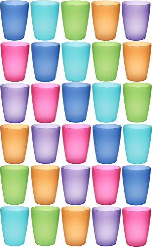ststoff-Becher mehrweg 250 ml 30 Stück, bunt, farbig, stapelbar auch als Wasser-Gläser, Cocktail-Gläser einsetzbar, Party-Becher, Plastik-Becher sind bruchsicher (Kinder Party Ideen)