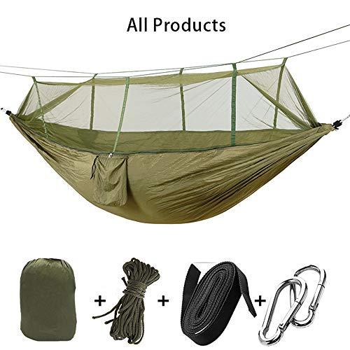 FJROnline Camping Hängematte mit Moskitonetz, 2 Personen Schaukel Schlaf-Hängematte Bett für Outdoor, Wandern, Rucksackreisen, Reisen (Outdoor-hängematte-schaukel-bett)