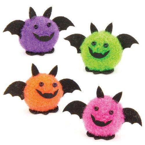 Mini-Pompon-Fledermäuse für Kinder als Bastel- und Deko-Idee Zum Gestalten zu Halloween für Jungen und Mädchen (10 Stück)