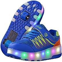Recollect Unisex Niños LED Parpadea Zapatos con Ruedas, Ajustable 2 Rueda Automática Aire Libre Patines