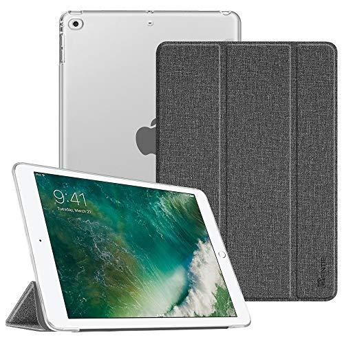 Fintie Hülle für iPad 9.7 Zoll 2018 2017 / iPad Air 2 (2014) / iPad Air (2013) - Ultradünn Schutzhülle mit transparenter Rückseite Abdeckung Cover mit Auto Schlaf/Wach Funktion, Jeansoptik dunkelgrau