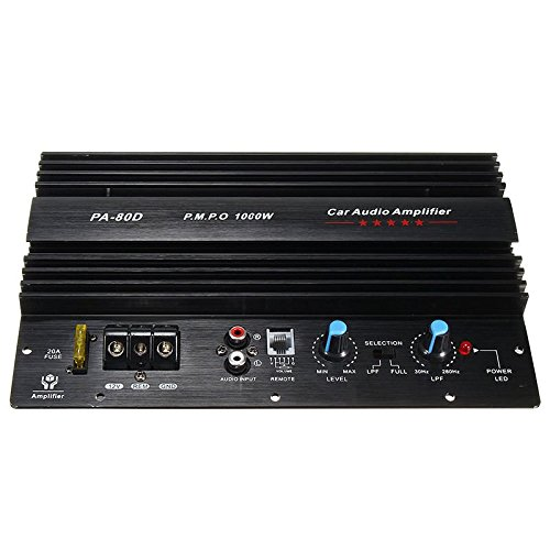 SODIAL 12V 1000W Mono Auto Audio Endstufe Leistungsstarke Bass Subwoofer Amp PA80D Mono-auto-subwoofer