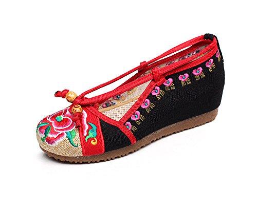 DESY Scarpe ricamate, suola a tendina, stile etnico, scarpe da donna, moda, comodo, casual Black