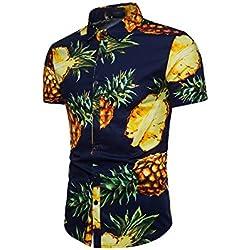 Yacun Hombres Camisas Hawaianas Floral Casual Tops Manga Corta De La Playa Navy M