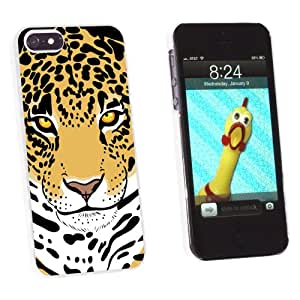 Graphics and More Leopard - Big Cat Snap-On Hard Protective Case for Apple iPhone 5/5s - Non-Retail Packaging - White