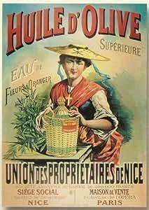Affiche 50x70cm pub retro huile d 39 olive de nice fleur d for Affiche cuisine retro