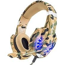 VersionTech Auriculares Estéreo para PS4 juego con Micrófono Gaming Headset para PS4 Profesional con 3.5mm Jack Luz LED Bajo Ruido Compatible con PS4 PC Ordenador Portátil y Smartphone (Camuflaje)