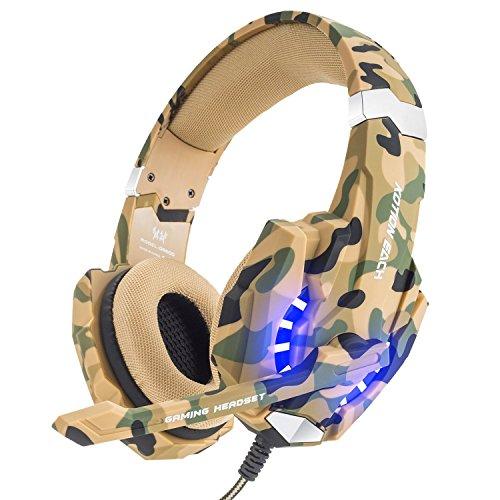 VersionTech Auriculares Gaming Estéreo para PS4 Nueva Xbox One Juegos con Micrófono Gaming Headset Profesional Bass Over-Ear con 3.5mm Jack Luz LED Bajo Ruido Compatible con PS4 PC Ordenador Portátil y Smartphone (Camuflaje)