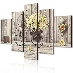 Idea Regalo - Vogue quadro su legno 5 pezzi Yellow Roses 66x115 cm