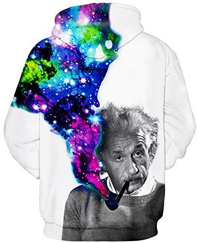 TDOLAH Herren Slim Fit Kapuzenpullover 3D Druck Sweatshirt Pullover Einstein