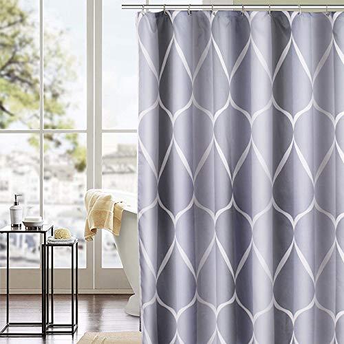 Trounistro Duschvorhänge, Duschvorhang Anti-Schimmel Duschvorhang aus Polyester Wasserabweisend Shower Curtain Anti-Bakteriell mit 12 Duschvorhangringen (weiß grau, 180 * 200)