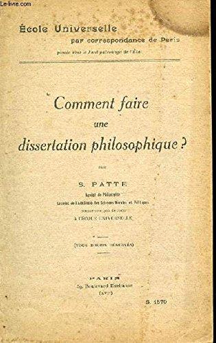 COMMENT FAIRE UNE DISSERTATION EN PHILOSOPHIE ? S.1570