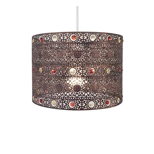 Bronze light shade amazon antique bronze gem moroccan style chandelier ceiling light shade fitting plasticmetal antique bronze mozeypictures Image collections
