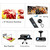 EUG HD Beamer 3400 Lumen LED 4000: 1 Kontrast 720p 1080p HD Bilder 100% Neu und Hochewertig mit TV HDMI VGA USB AV Anschlüsse Ideal für Heimkino Einbauen Kino zu Hause Filme Fernsehprogramm Max 150 Zoll Bild. -
