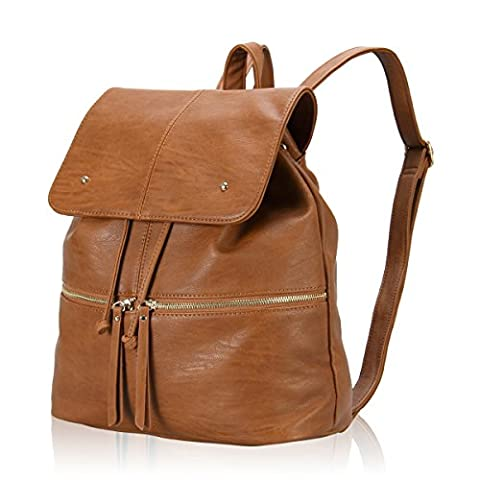 Veevan Womens Designer Ultra-chic Daily Backpack (Brown)