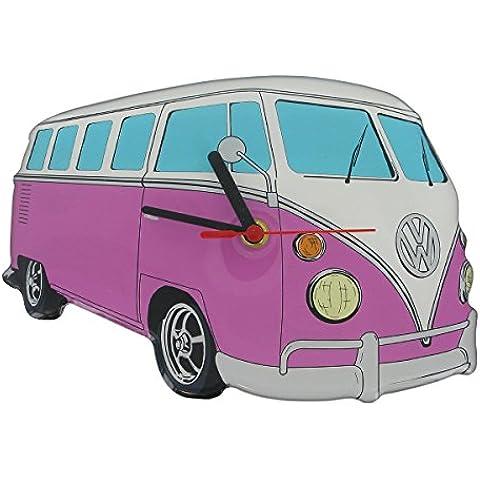 Producto oficial de VW T1Furgoneta Cut Out–Reloj de pared rosa. Volkswagen Original Merchandise