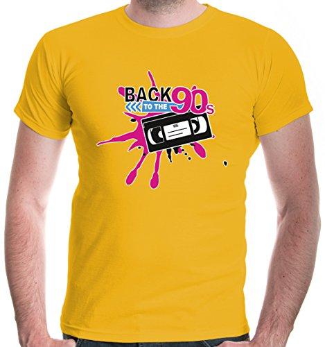 buXsbaum Herren T-Shirt Back to 90s | 90er Oldschool Party | XXL, Gelb
