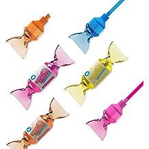 MUSTARD Sweet Stripes - Subrayadores y marcadores 2 en 1 con forma de caramelo, Set de 4 subrayadores - Diferentes colores