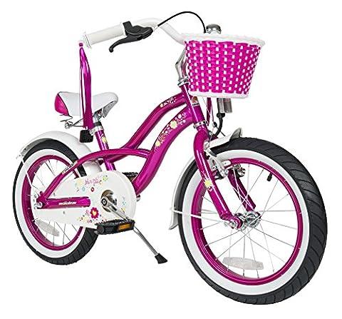 BIKESTAR® Premium Design Kinderfahrrad für coole Kids ab 4 Jahren ★ 16er Deluxe Cruiser Edition ★ Creamy Violett