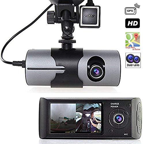 LCD HD dash-cam DualCam Auto DVR w/GPS-Tracker + Google Maps + G-Sensor ()