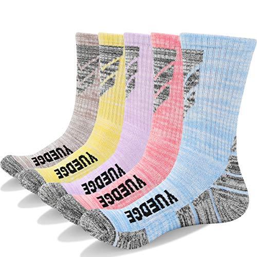 Baumwolle Socken Wandern (YUEDGE 5 Paar Damen Wandern Sport socken für Trekking Camping Radfahren Tennis, Atmungsaktiv, Anti-Slip, High Performance (L))