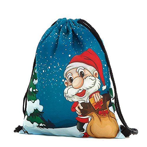 Weihnachtsgeschenk ,LMMVP Weihnachtsbeutel Taschen Schneemann Bedruckte Taschen Rucksack (BlueB)