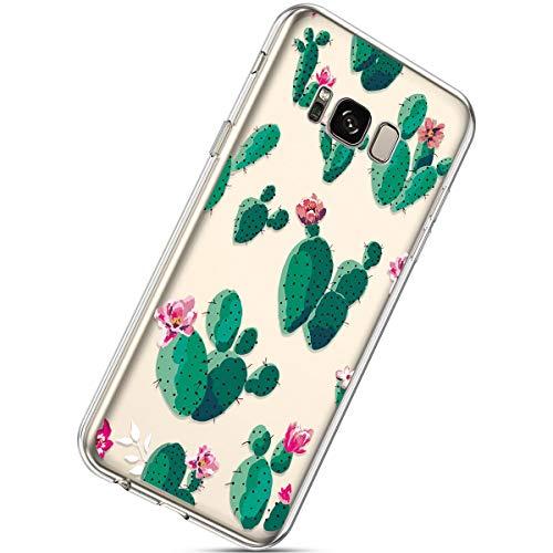 Herbests Kompatibel mit Samsung Galaxy S8 Handyhülle TPU Silikon Dünn Schutzhülle Muster Transparent Durchsichtige Crystal Clear Case Cover Anti-Kratzer Hülle Softcase Tasche,Kaktus